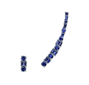Mixed Cut Blue Sapphire Ear Climber and Stud by Borgioni