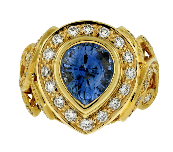 "Crevoshay Burmese Sapphire ""Deep Blue"" Diamond 18k Yellow Gold Ring"