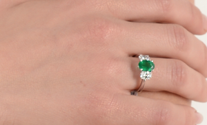 Colombian Emerald & Oval Diamond Platinum Ring - Talisman Collection Fine Jewelers