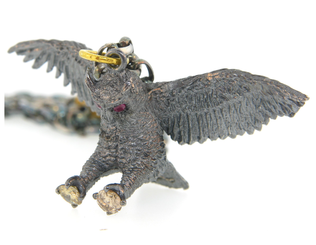 Great Horned Owl Ruby & Diamond Pendant by Atelier Minyon