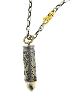 Hand Carved Silver Bullet Pendant with Rubies & Diamonds by Atelier Minyon - Talisman Collection Fine Jewelers