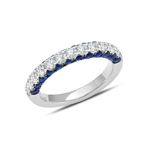 Sapphire and Diamond 3 Sided Half Band by Graziela - Talisman Collection Fine Jewelers
