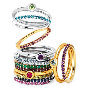 White Sapphire Stackable April Birthstone Band - Talisman Collection Fine Jewelers