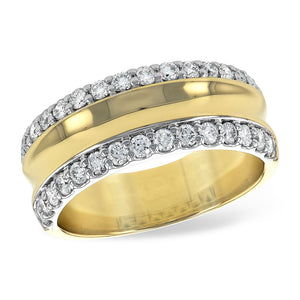 Diamond Bevel Band in 14k White, Yellow and Rose Gold