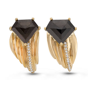 Black Diamond Edge Earrings by Manya & Roumen - Talisman Collection Fine Jewelers