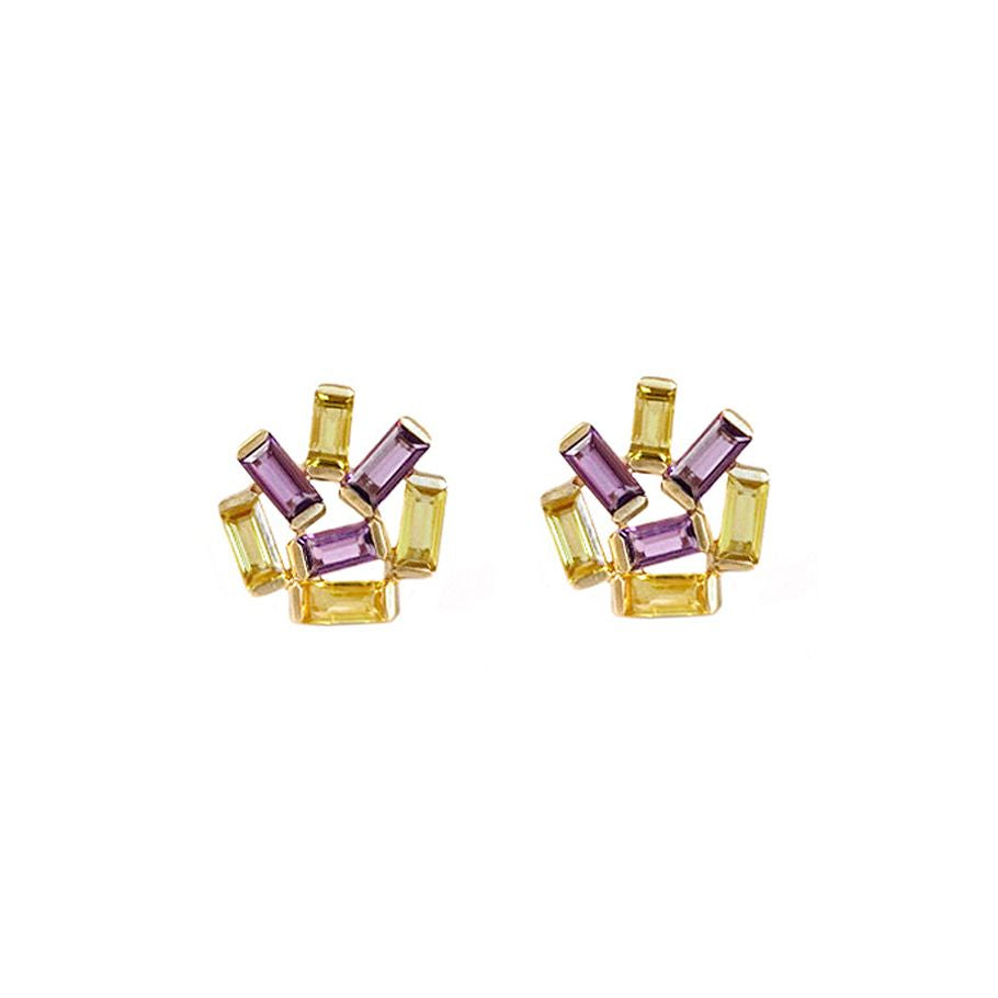 Amethyst and Yellow Sapphire Medium Jubilation Stud Earrings