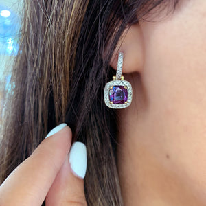 Yellow Gold, Alexandrite and Diamond Earrings - Talisman Collection Fine Jewelers