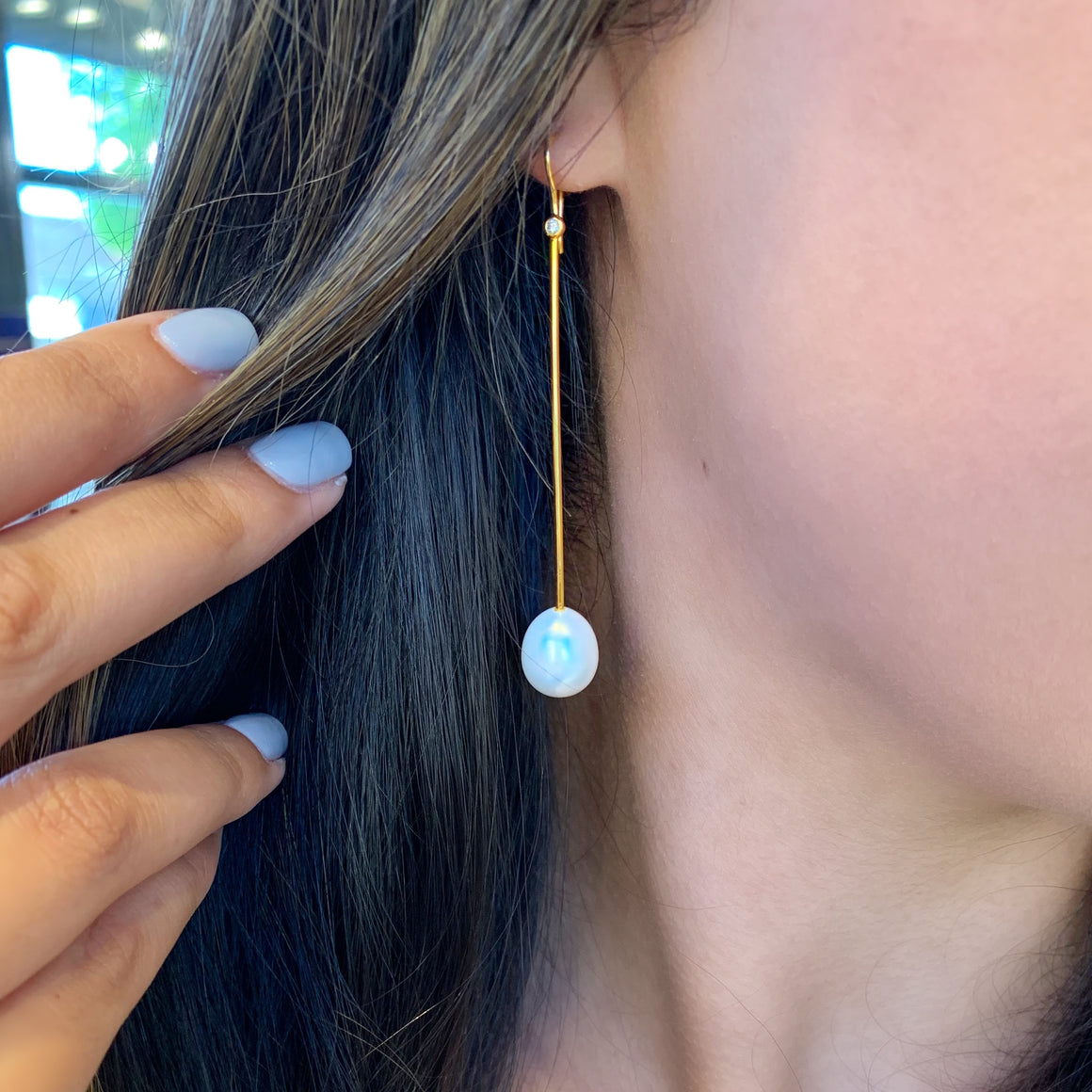 14k Yellow Gold Diamond Stick Earrings with Pearl Drops - Talisman Collection Fine Jewelers