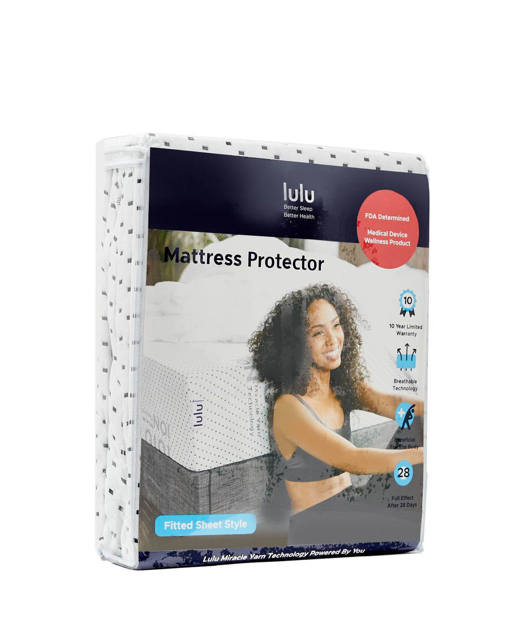 Lulu Mattress Hypoallergenic Muscle Recovery Technology Mattress Protector- Fitted- Deep Pocket