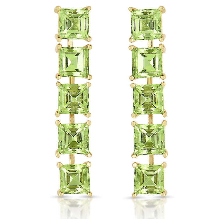 Peridot Square Drop Earrings