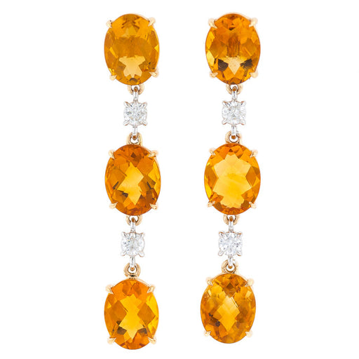 Citrine Diamond Dangles