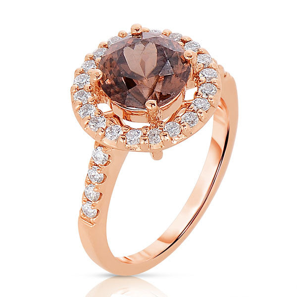Cinnamon Zircon Cocktail Ring