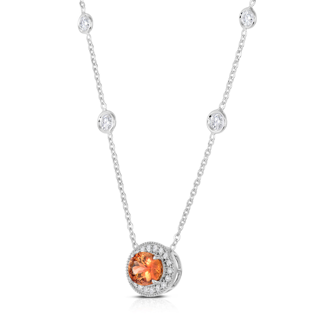 Imperial Topaz & Diamond Necklace
