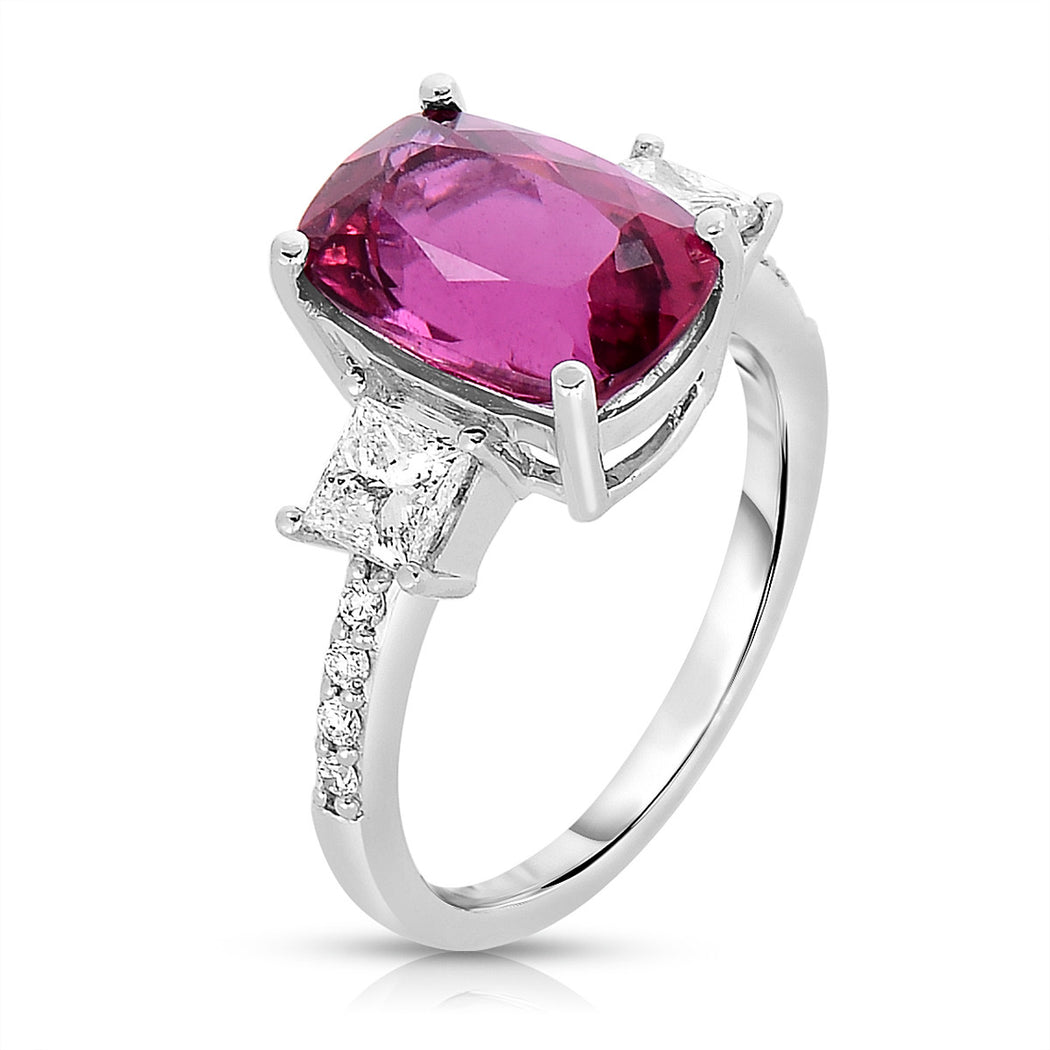 Cushion Rubelite Squares and Rectangles Ring