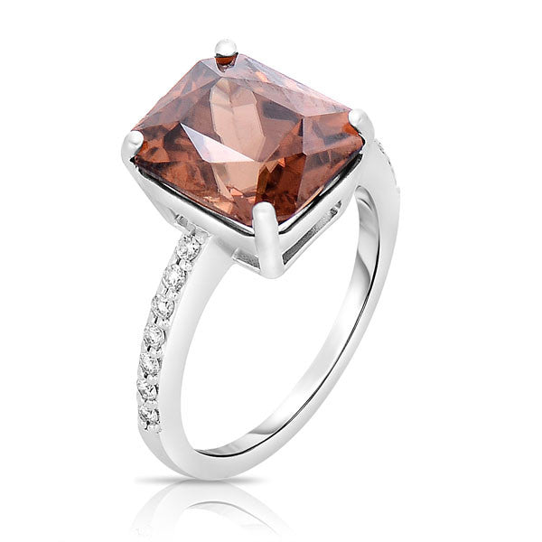 Satin Cinnamon Zircon Cocktail Ring