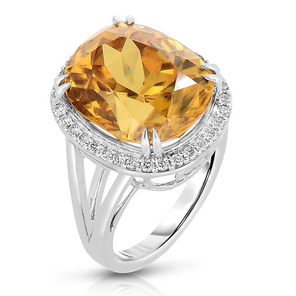 Magnificent Golden Zircon Cocktail Ring