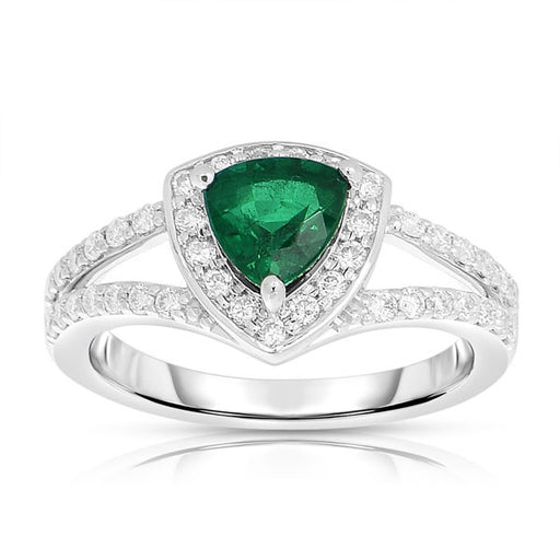 Trillion Emerald Showcase Ring