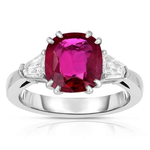 Ruby Cushion Three Stone Ring
