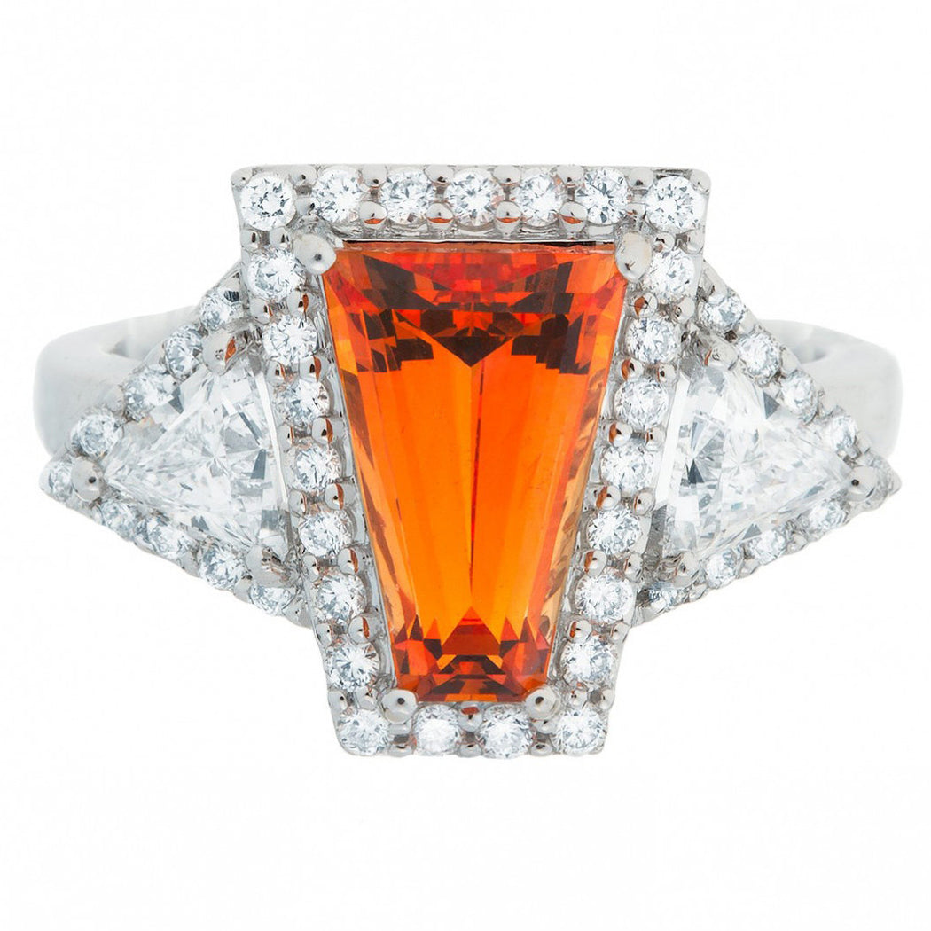 Modern Mandarin Garnet Cocktail Ring