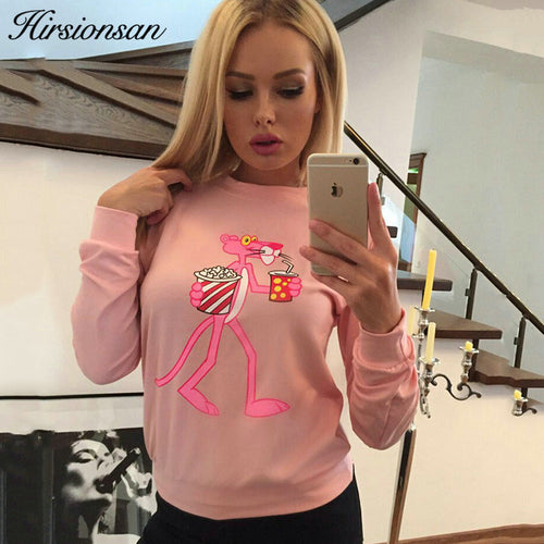 Hirsionsan Cute Pink Panther - Printed Sweater Women's Hoodies 2018 Spring/Autumn - Funny Cartoon Hoodies Long Sleeve Training