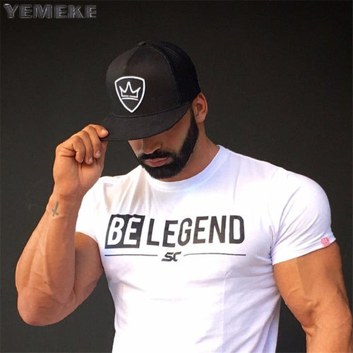 Men Summer Fitness T-Shirt - Bodybuilding Fashion Cotton Shirts - Brand Sports Training Short Sleeve Tee - Tees Headwear Clothing