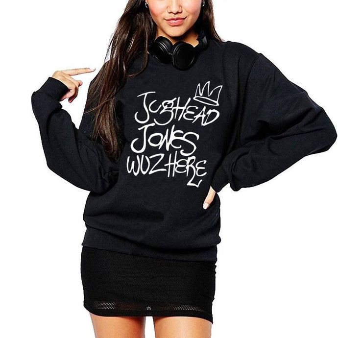 Jughead Jones Wuz Here Riverdale Hoodies - Crewneck Sweater Women's South Side Of Modern Tv Shows - Juggie Ho'o'd'y Ladies