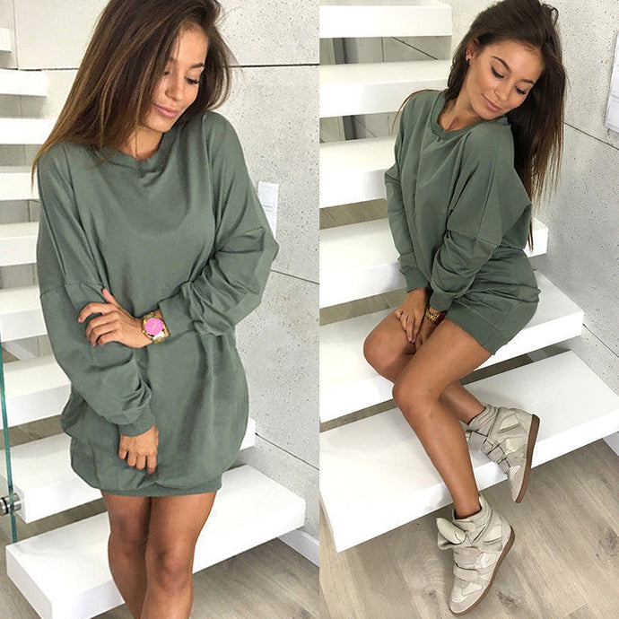 Autumn/Winter Women's Sweaters - Hoodies Casual Fashion - Women's Neck Long Sleeve Pullover - Long Tops Women Dress Up