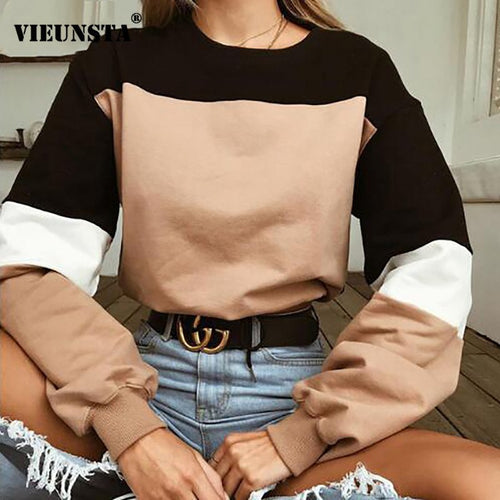 VIEUNSTA Sexy Color Block Patchwork Women - Sweaters Casual Autumn/Winter Pullovers Harvest - Long Sleeve Top Stylish - Lady Hoodies