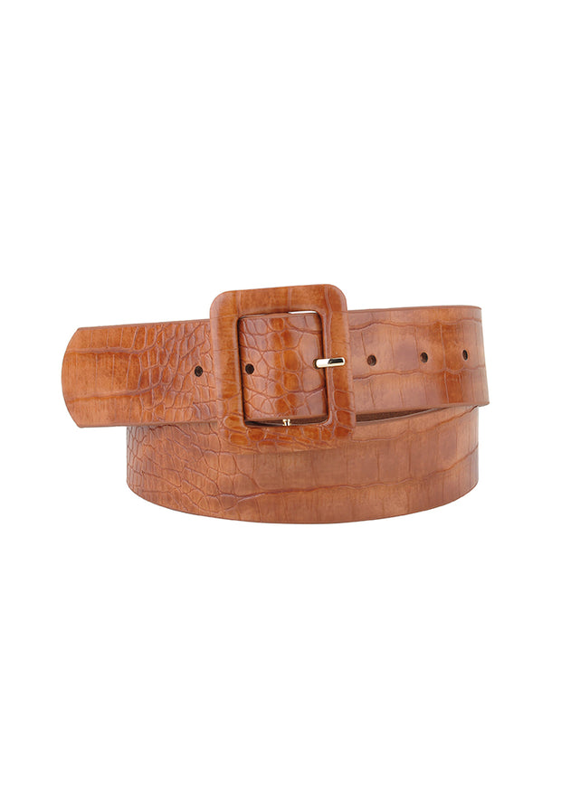 Croc Leather Belt, Black