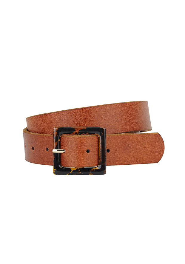 Resin Lether Belt, Tan