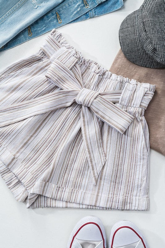 Linen Blend Pocketed Tie Shorts