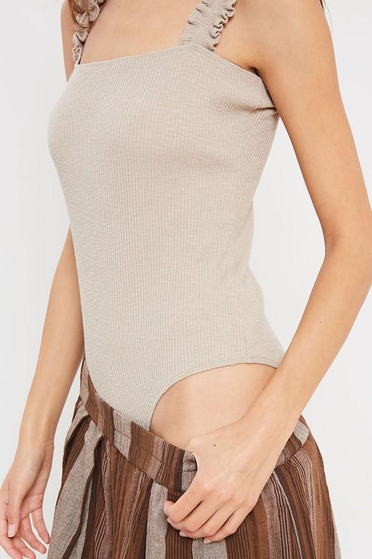Robin Ruffled Ribbed Bodysuit {Taupe}