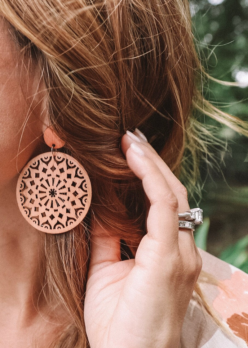 Circle Wood Earrings