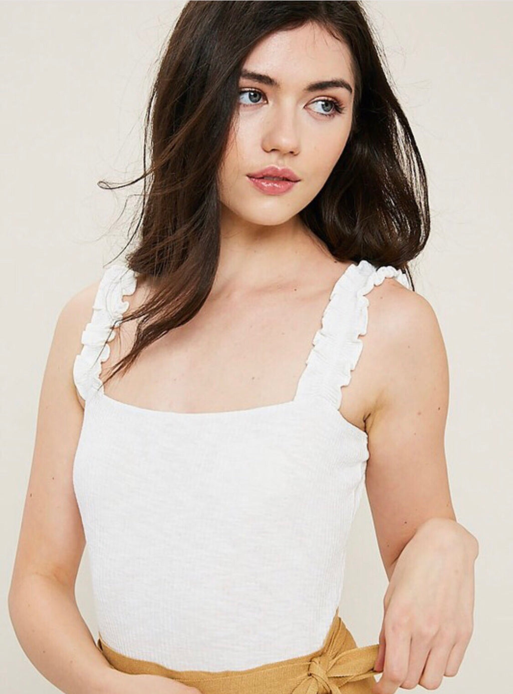 Robin Ruffled Ribbed Bodysuit {White}