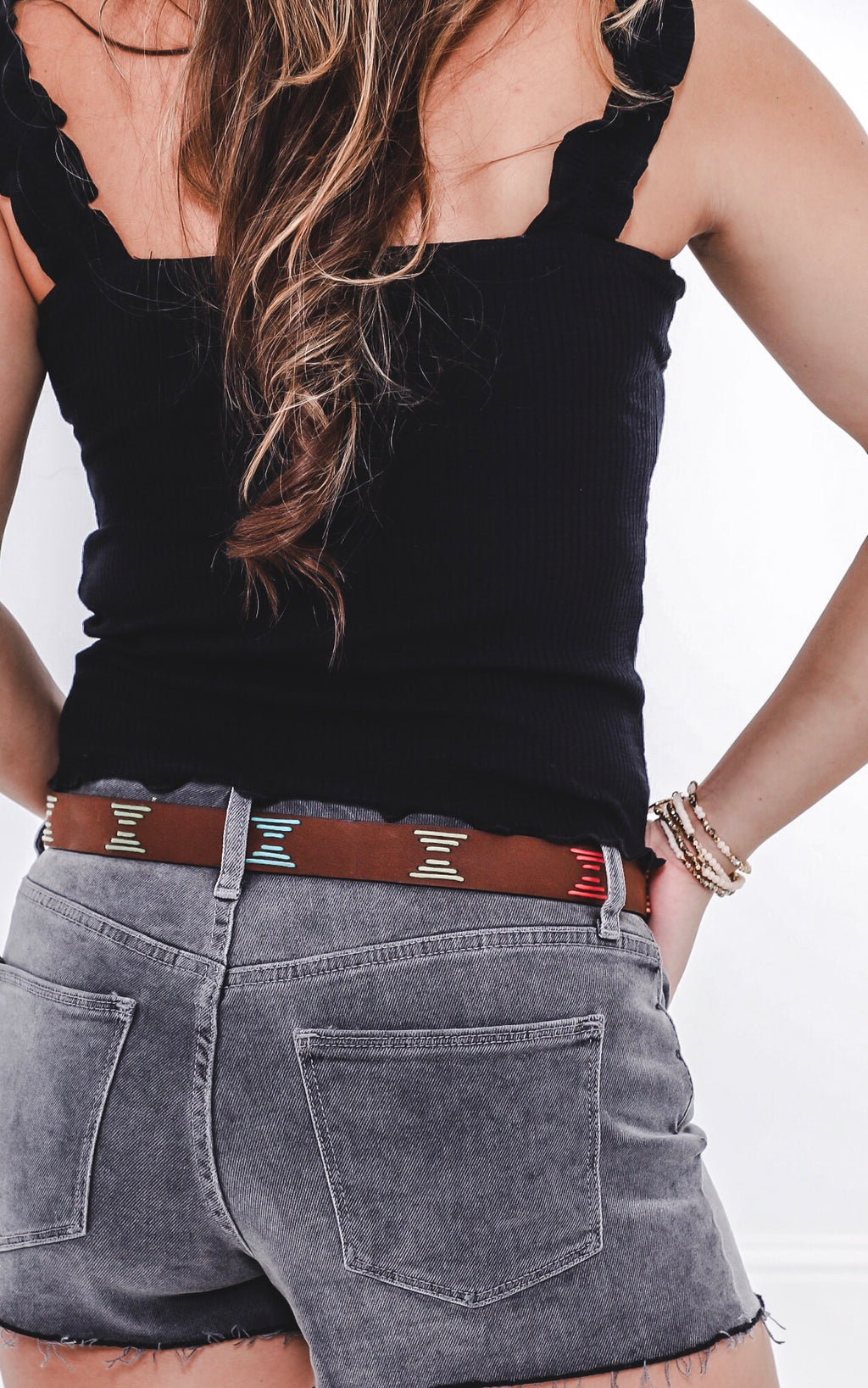 Arlee Multicolored Stitched Leather Belt
