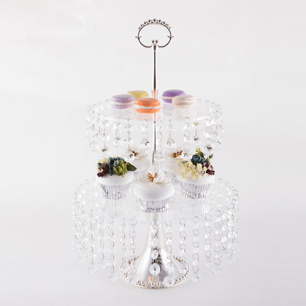 2-Tier Dessert Stand With Crystal Drops