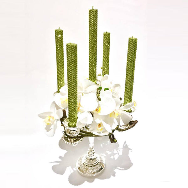 5-Arm Silver Plated Candelabra with Orchids