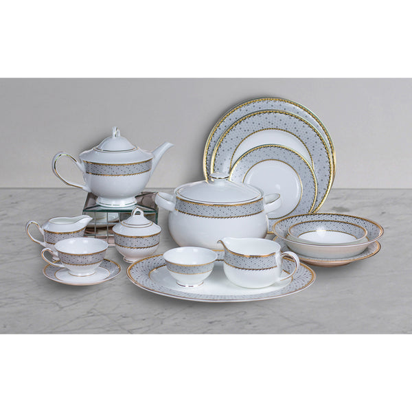 Chloe Grey 51 pc Crockery Set