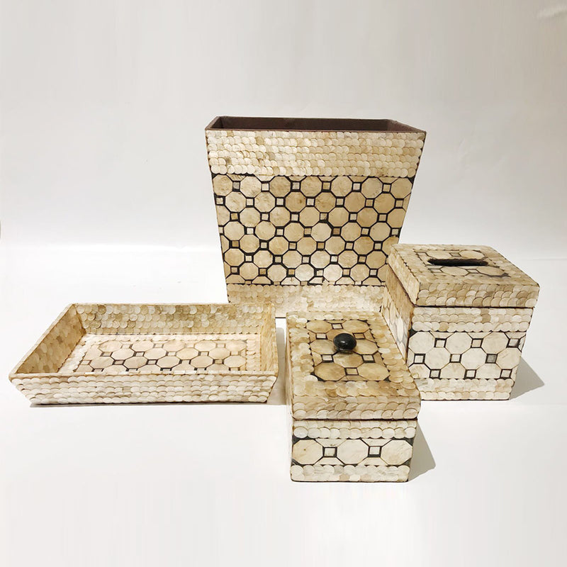 Capiz Shell Vanity Set - Hexagon, Pearl/Black