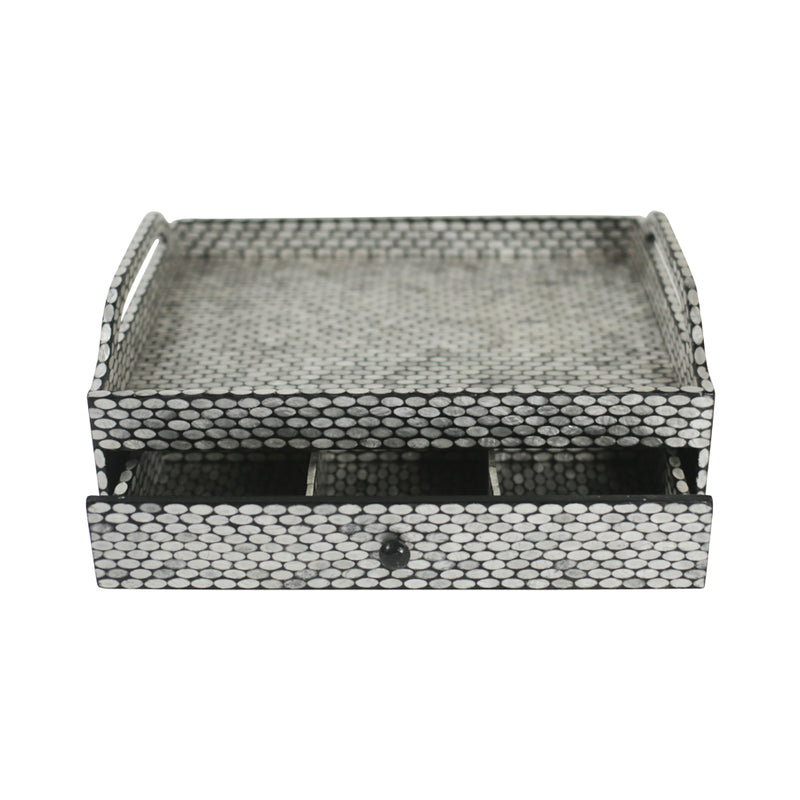 Capiz Shell Tea Chest w/ Drawer - Oval Black / Silver - Small
