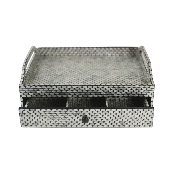 Capiz Shell Tea Chest w/ Drawer - Oval Black / Silver - Large