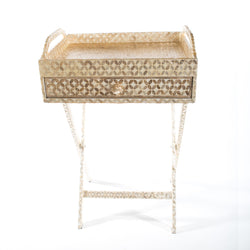 Capiz Shell Tea Chest with Leg Stand - Flower, Beige/White