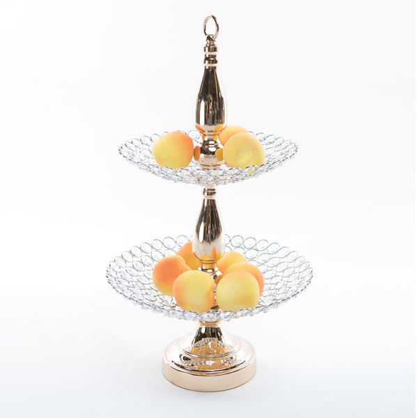 Crystal 2 Tiered Platter Stand w/ Top Hoop - Gold
