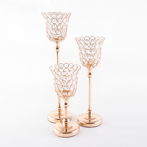 Cup w/ Circle Crystal Candlestand Gold