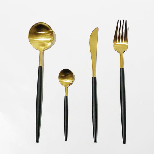 Cutlery in Box - Gold & Black (set of 4)