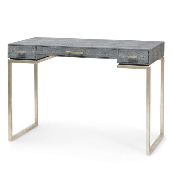 Faux Shagreen Console Table - Charcoal
