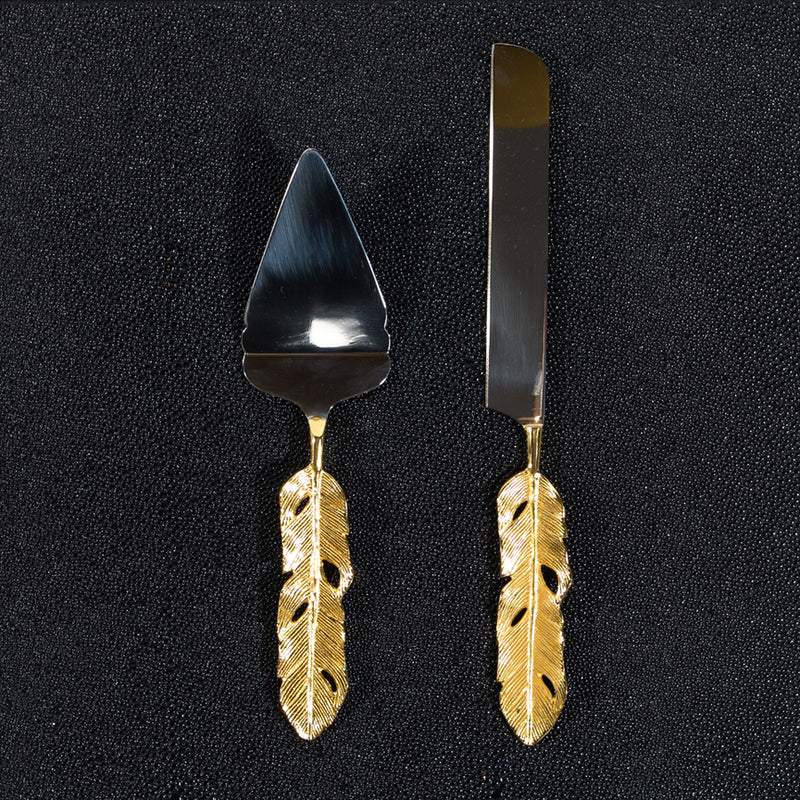 Gold Feathered Cake Server & Knife