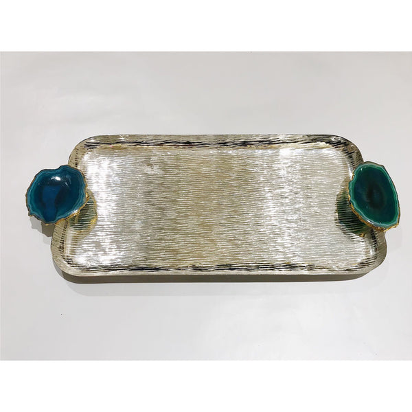 Green Agate Silver Rectangular Tray