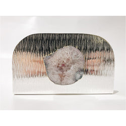 Grey Agate Silver Napkin Holder