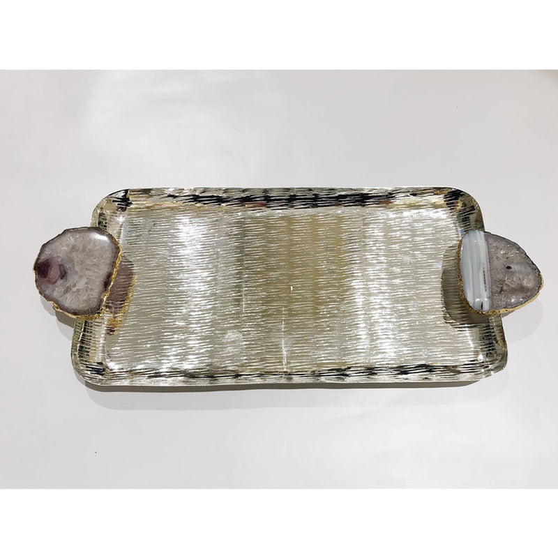 Grey Agate Silver Rectangular Tray